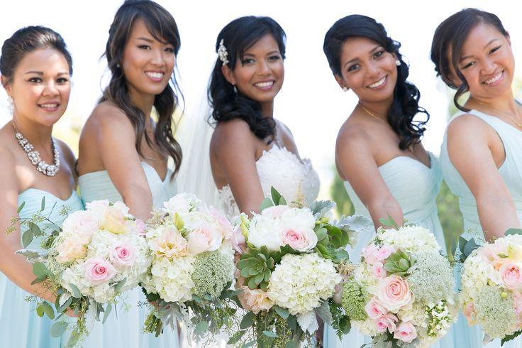 Real Wedding: Coyote Hills Golf Course, Fullerton Florist: The Purple Iris Events, Fullerton wedding flowers, outdoor wedding bridal bouquet, bridesmaids bouquets, summer wedding, pastel wedding, blush, mint,