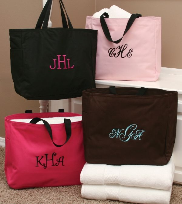 Black Custom Embroidered Tote Bag: $15.95 #Bridesmaid #Wedding