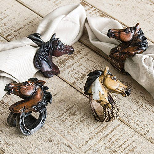 Western Horses Napkin Rings  4 pcs  Southwestern Kitchen Decor ** Check out this great product.