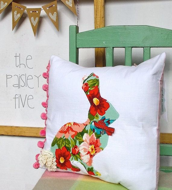 Sweet Country Easter Bunny Cushion Pillow Cover by ThePaisleyFive, $35.00