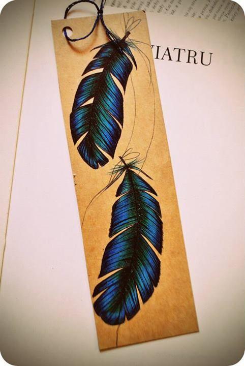 Blue Feather Bookmark by Olenka More here: https://www.facebook.com/pages/Olenka/647167888679052