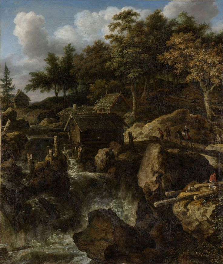 Allaert van Everdingen | Landscape in Sweden with Waterfall, Allaert van Everdingen, 1650 - 1675 | Zweeds landschap met waterval aan de rand van een bos. Langs enige huisjes stort een rivier tussen grote rotsblokken naar beneden. Enige figuren lopen over een houten bruggetje tussen de rotsen.
