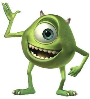 Mike Wazowski from Disney's 2001 animated movie, Monsters Inc, is a green monster with a ball-shaped body, a single big eyeball, and skinny arms and legs. He runs Sulley's station on the scare floor, and they are close friends and room mates. Mike has an outgoing personality and is dating Celia Mae. He makes cameo appearances in Finding Nemo, Cars, WALL-E and Toy Story 3.