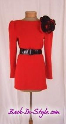 Raul Blanco Red Knit Mini Dress with Rosettes