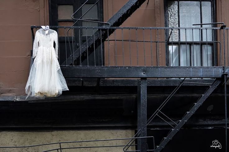 travel photography nyc new york city usa america firestairs wedding dress white marriage hanging buinding