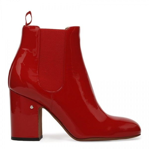 Red patent leather boots (£260) ❤ liked on Polyvore featuring shoes, boots, patent boots, red boots, red shoes, patent shoes and red patent leather shoes