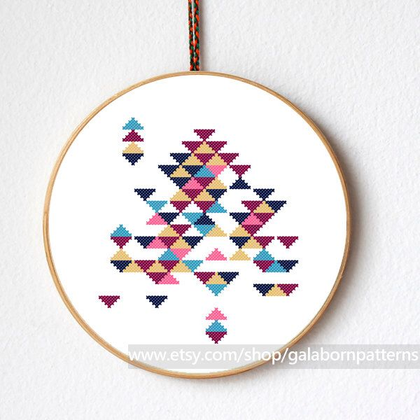 Abstract triangles - Modern cross stitch - Counted cross stitch pattern PDF by galabornpatterns on Etsy https://www.etsy.com/listing/192585825/abstract-triangles-modern-cross-stitch