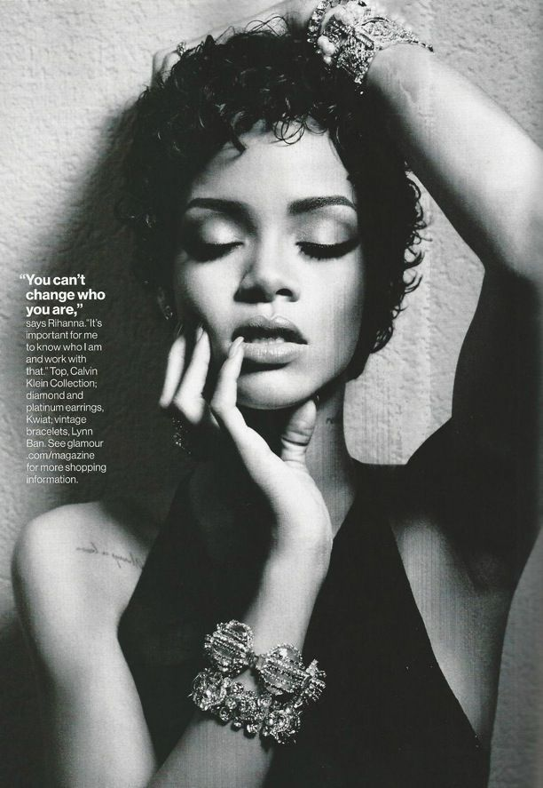 RIHANNA BLACK AND WHITE LOOKS EDITORIAL PHOTOSHOOT GLAMOUR MAGAZINE BARBADOS SHORT CURLY HAIR BEAUTY MASCARA EYELINER LONG NAILS JEWELED STA...