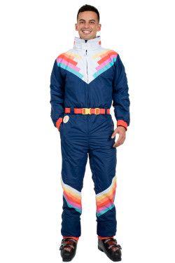 4255e6a295 ... Shredder Ski Suit. Retro gestreept skipak heren