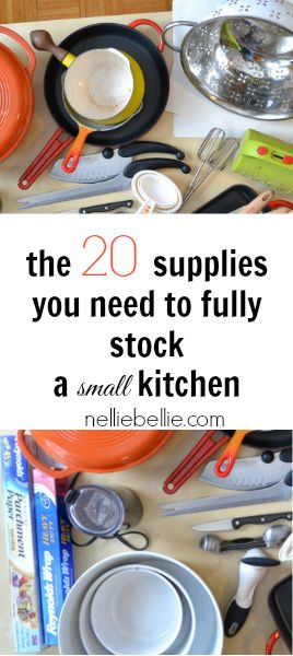 Essential Supplies for Stocking a Rental Kitchen... i probably have all of these already, but its nice to think about.