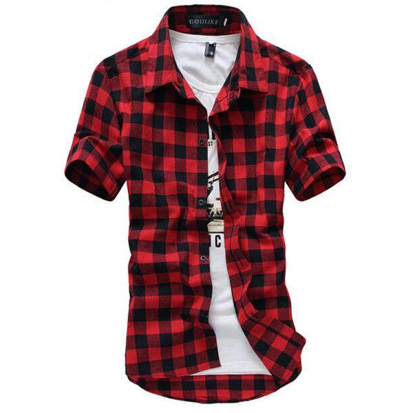 Blue Red Black Plaid Shirt Men Shirts New Summer Fashion Chemise Homme Mens Checkered Shirts Short Sleeve Shirt Men Blouse