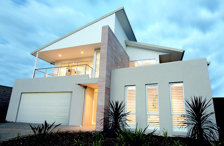 From Hotondo Homes Designer Home Range, the Seaspray features multiple textures, skillion roof and blade feature wall. http://www.hotondo.com.au/home-design-seaspray340_129.aspx