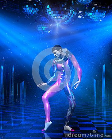 3d illustration of a clown mime performing on disco club stage with shining mirror balls, chrome lattice scaffold and spotlight rays.