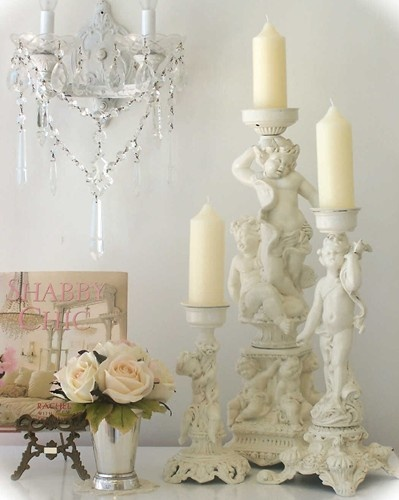 figural cherub candlesticks shabby chic pinterest. Black Bedroom Furniture Sets. Home Design Ideas