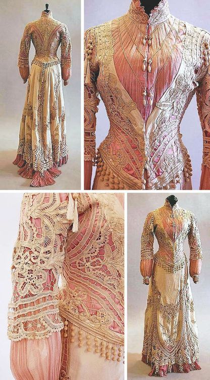 ~A tape lace pink and ivory silk summer gown, circa 1900, the bodice and skirt with elaborate tasseled trim~