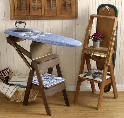 handmade wooden furniture - ironing board stepstool ladder combo - would be neat to be able to fold the stepstool part back further to make a seat