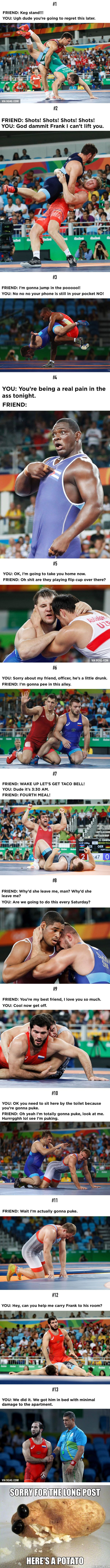 13 Wrestling Photos Teach You How To Take Care Of Your Drunk Friends - 9GAG