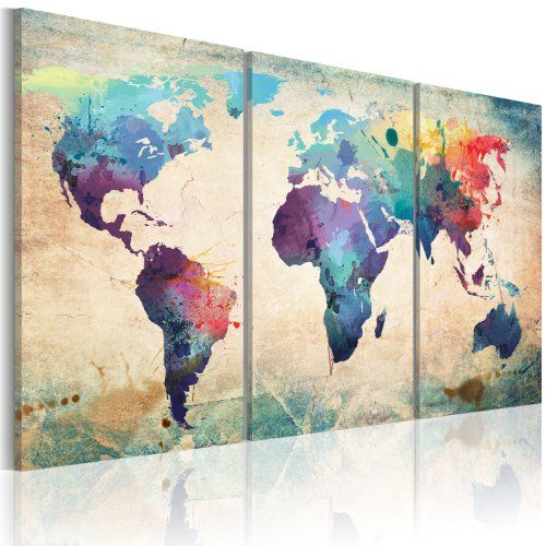 grand format impression sur toile images 3 parties carte du monde tableau 020113 50 120x60 cm b. Black Bedroom Furniture Sets. Home Design Ideas