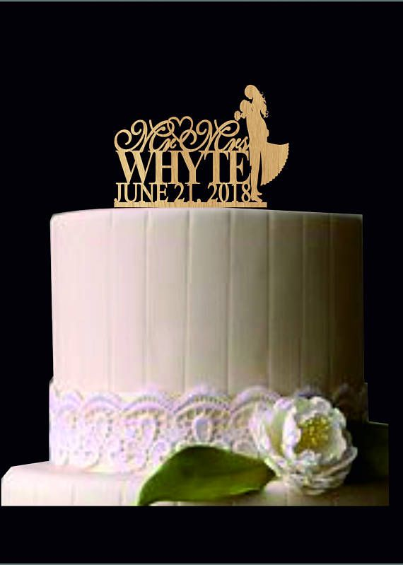 Personalized Custom Mr & Mrs Wedding Cake Topper, Unique Wedding Cake Topper, Rustic Wedding Cake Topper, Silhouette Wedding Cake Topper