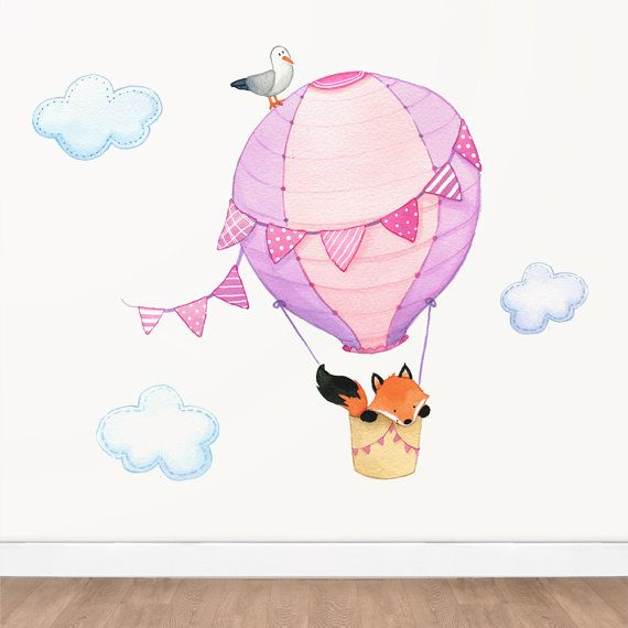 Hot Air Balloon Fox Wall Decal Set