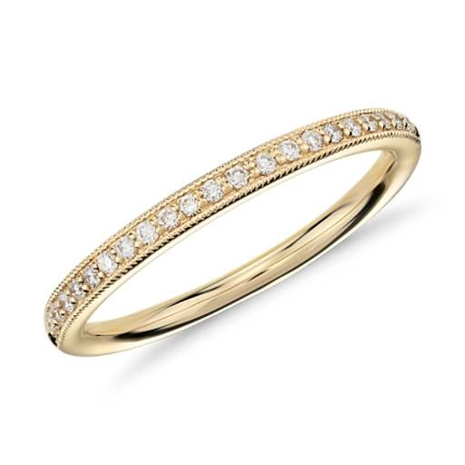 Delicately Crafted This Pee Pavé Diamond Ring In Yellow Gold Features Diamonds Along The Top Of To Create A Fine Line Brilliance And