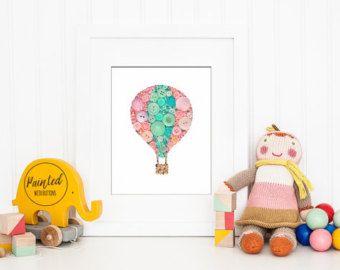 Bouton Art PRINT, ballon à Air chaud, impression de pépinière, pépinière Decor rose Decor bleu sarcelle, ballon mur gratuit Art, Decor ballon, transport maritime intérieur