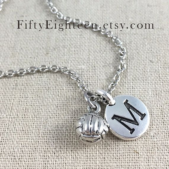 Volleyball Charm Necklace Personalized Volleyball by FiftyEighteen