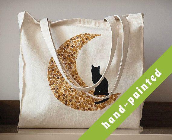 cat tote bag / crazy cat lady / bag with cat/ cat bag/ cat