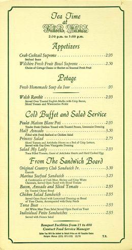 Bullocks Wilshire Tea Room Menu