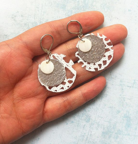 Dangle Earrings – Boho lace earrings 216-1-3 dangle and drop – a unique product by Carla-Amaro on DaWanda
