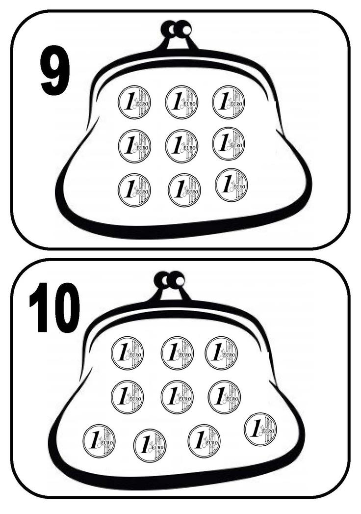 dreamskindergarten Το νηπιαγωγείο που ονειρεύομαι !: Αριθμοκάρτες με πορτοφολάκια και κέρματα του ευρώ (ασπρόμαυρες καρτέλες )