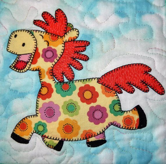 Horse or pony PDF applique quilt block pattern by MsPDesignsUSA                                                                                                                                                     More