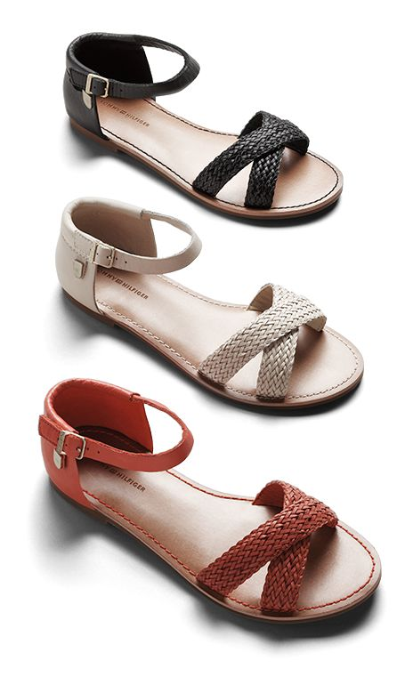 Braided Flat Leather Sandals (Tommy Hilfiger)