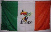Guinness Beer Flag 3 Ft by 5 Ft Guiness - - - Irish flag - - - Ireland soccer flag by Guinness Flag. $5.25. Guinness Beer Flag 3 x 5 Feet. Cute Toucan w/ his Guinness and Soccer Ball. Cute Toucan w/ his Guinness and Soccer Ball IRISH GUINESS SOCCER FLAG!! IT IS 3'X5' AND IS MADE FROM LIGHTWEIGHT MATERIAL TO FLY IN A LIGHT BREEZE OR FULL WIND!! IT HAS TWO METAL GROMMETS FOR EASY FLYING OR DISPLAY!