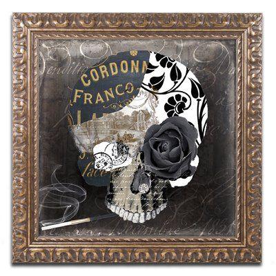"Trademark Art 'Paris Halloween II' by Color Bakery Framed Graphic Art Size: 16"" H x 16"" W x 0.5"" D"