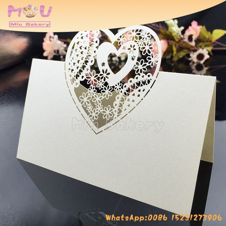 thanks Heart Patterns New Style Promotional Party Supplies Wedding Decorative Seattable Card