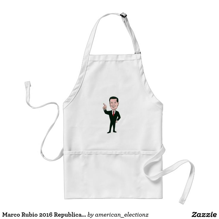 Marco Rubio 2016 Republican Candidate Adult Apron. Marco Rubio 2016 Republican candidate adult apron with an illustration showing Marco Rubio, an American senator, politician and Republican 2016 presidential candidate standing pointing up front done in cartoon style. #Rubio2016 #republican #americanelections #elections #vote2016 #election2016