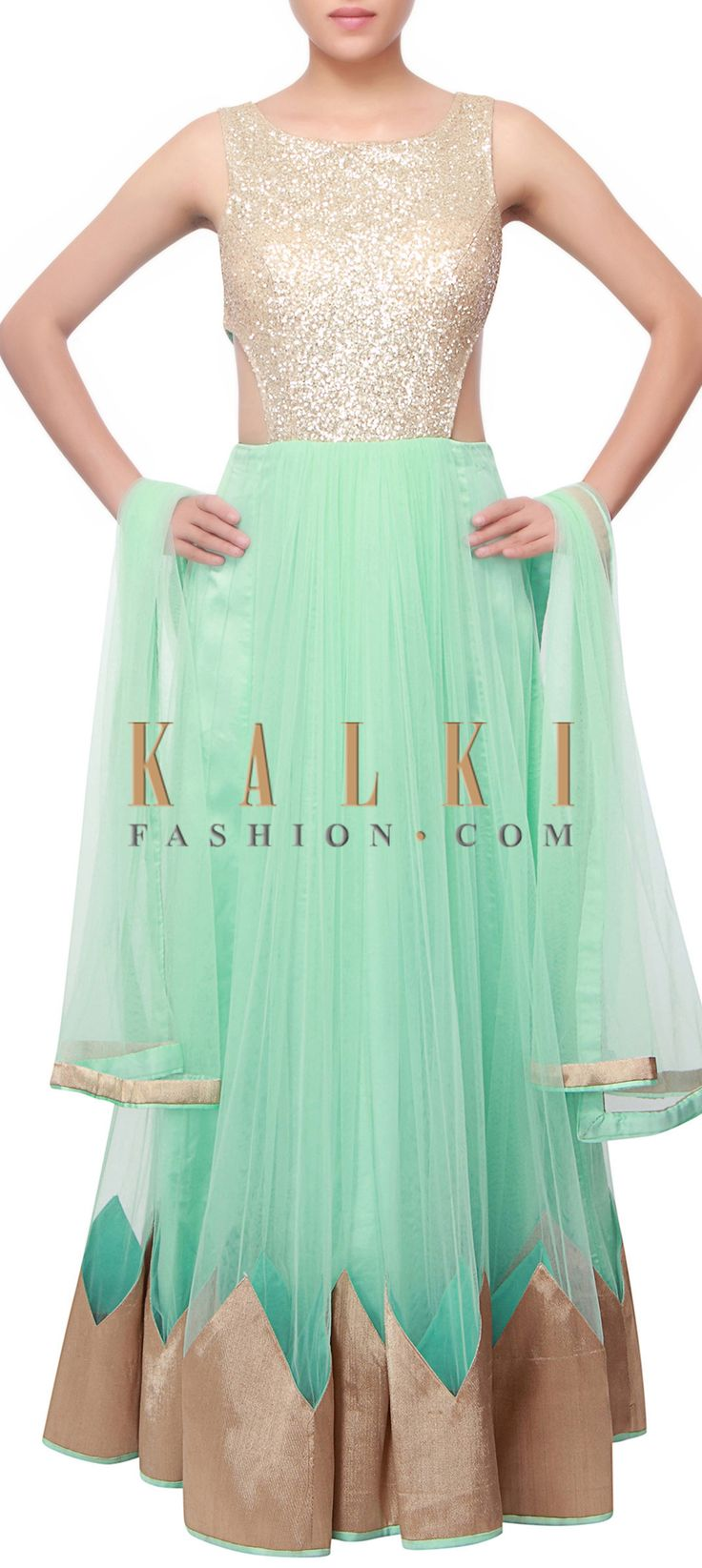 Buy Online from the link below. We ship worldwide (Free Shipping over US$100) http://www.kalkifashion.com/mint-anarkali-embellished-in-shimmer-only-on-kalki.html
