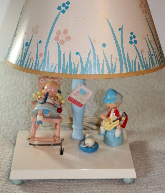Irmi Nursery Plastics Child's Wooden Motion Lamp w/Music Box Little Boy Little Girl w/Original Tag and An Original Shade Excellent Condition
