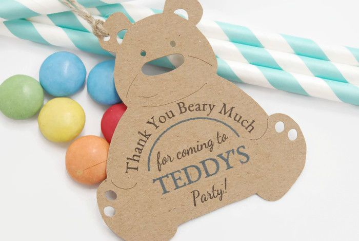 x10 Teddy bears picnic Party Favour thank You Boys Tags