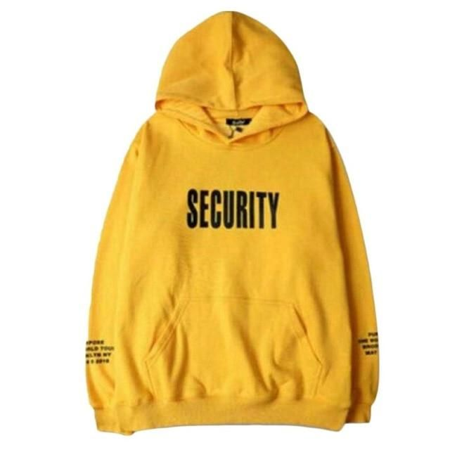 Spring Fashion Men Thick Hoodie Sweatshirt Letter Printed Loose Style Male  Casual Tracksuit Long Sleeve Yellow Hooded Pullovers 53308145937c