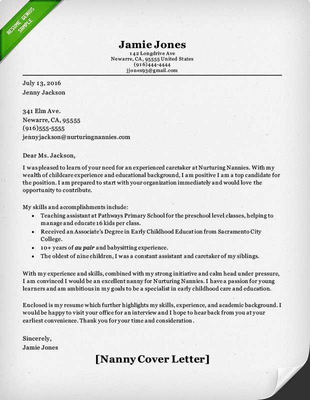 letter template yangi sample nanny cover for babysitting job resume samples cipanewsletter berathen