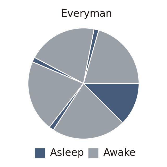 """""""Everyman"""" : deux cycles pendant la nuit (3H environs, typiquement de 2h à 5h du matin) et une micro-sieste après chaque repas.  Je l'ai fait pendant des mois sans autre effet secondaire que beaucoup de temps pour bosser..."""