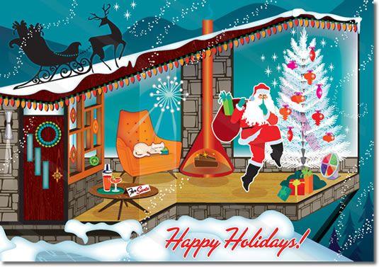 "********Mid Century Modern Santa Christmas Card  NEW for 2013! Mid Century Modern Santa visits a cool mid century modern house on Christmas eve. Swanky modern decor. No cookies for Santa here, Christmas ""Spirits"" awaits. Happy Holidays! May Your House Be Filled With Christmas Spirit.  8 cards  envelopes $12.00 | Folded Card Size 4.5″x 6.25″"