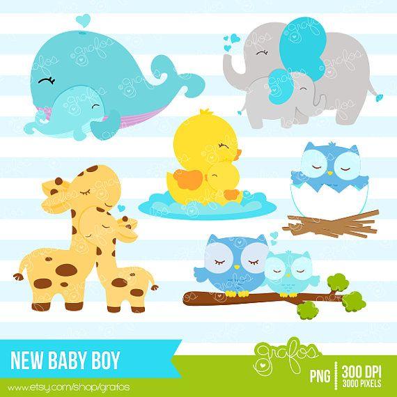 NEW BABY BOY Digital Clipart Imagenes Animales Bebes por grafos