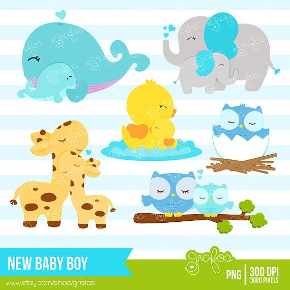 NEW BABY BOY  Digital Clipart  Baby Animals Clipart by grafos, $5.00