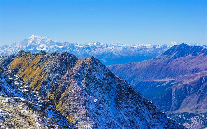 Download wallpapers Matterhorn, mountains, cliffs, blue sky, Swiss Alps, Europe