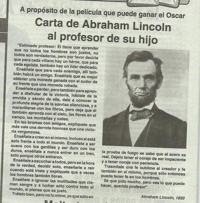 Carta de Abraham Lincoln a su hijo.