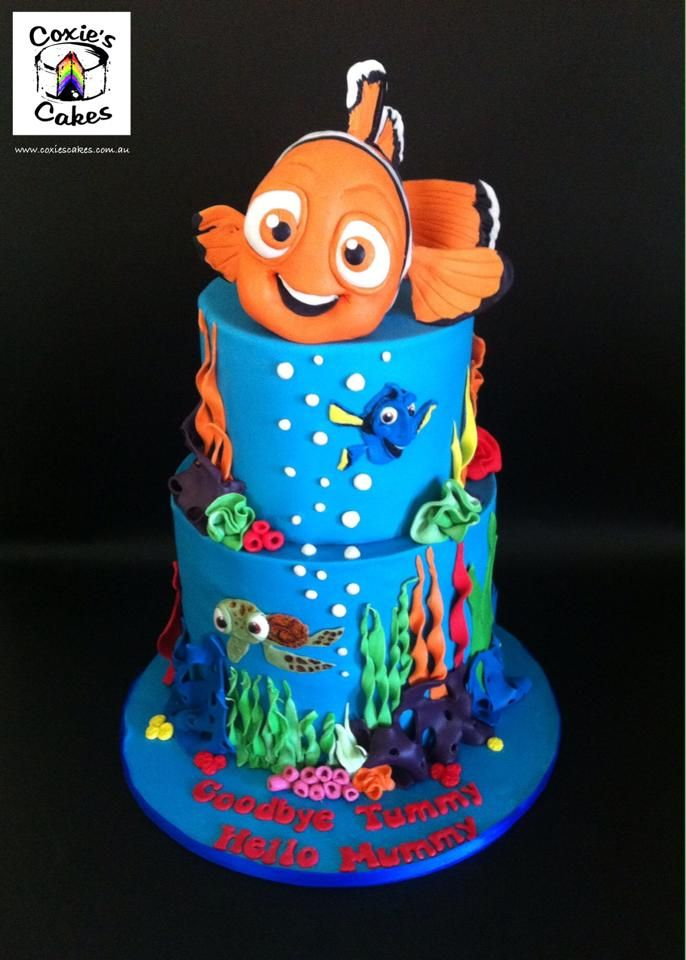 disney pixar finding nemo baby shower two tier cake with handmade