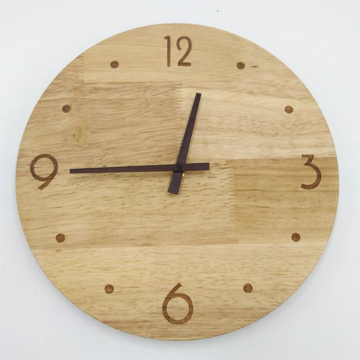 rustic clock wooden clock natural wall round clock 12 inch mute minimal wall clock design home decor bedroom-in Wall Clocks from Home & Garden on Aliexpress.com   Alibaba Group